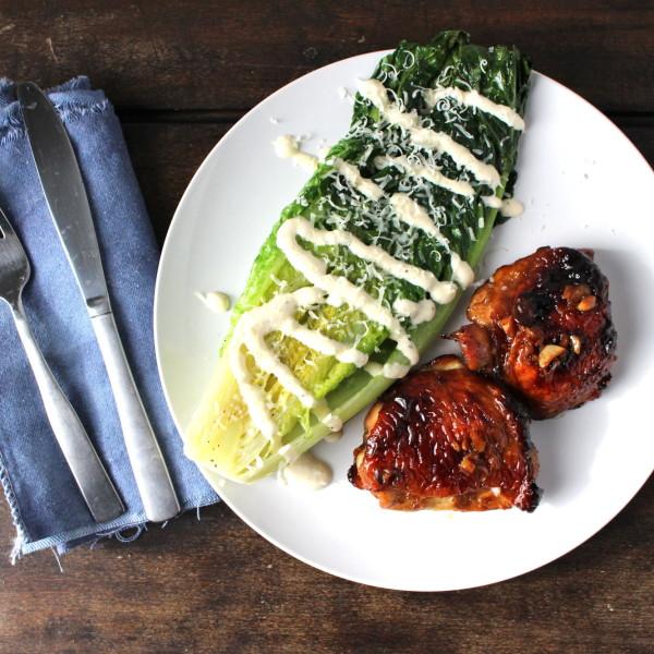 Grilled Romaine, Honey Garlic Chicken