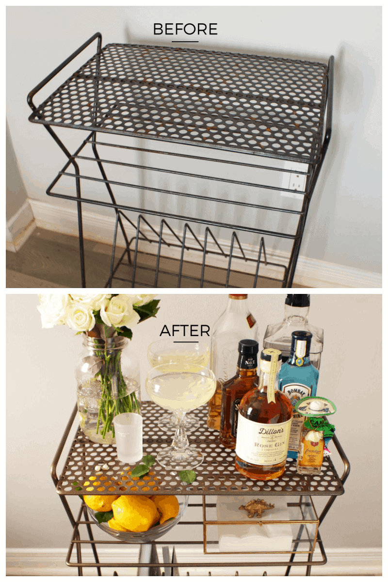 lf you have a vinyl record rack already or find a cheap one, you can easily transform it into a classy and chic bar cart! Perfect for small spaces too.