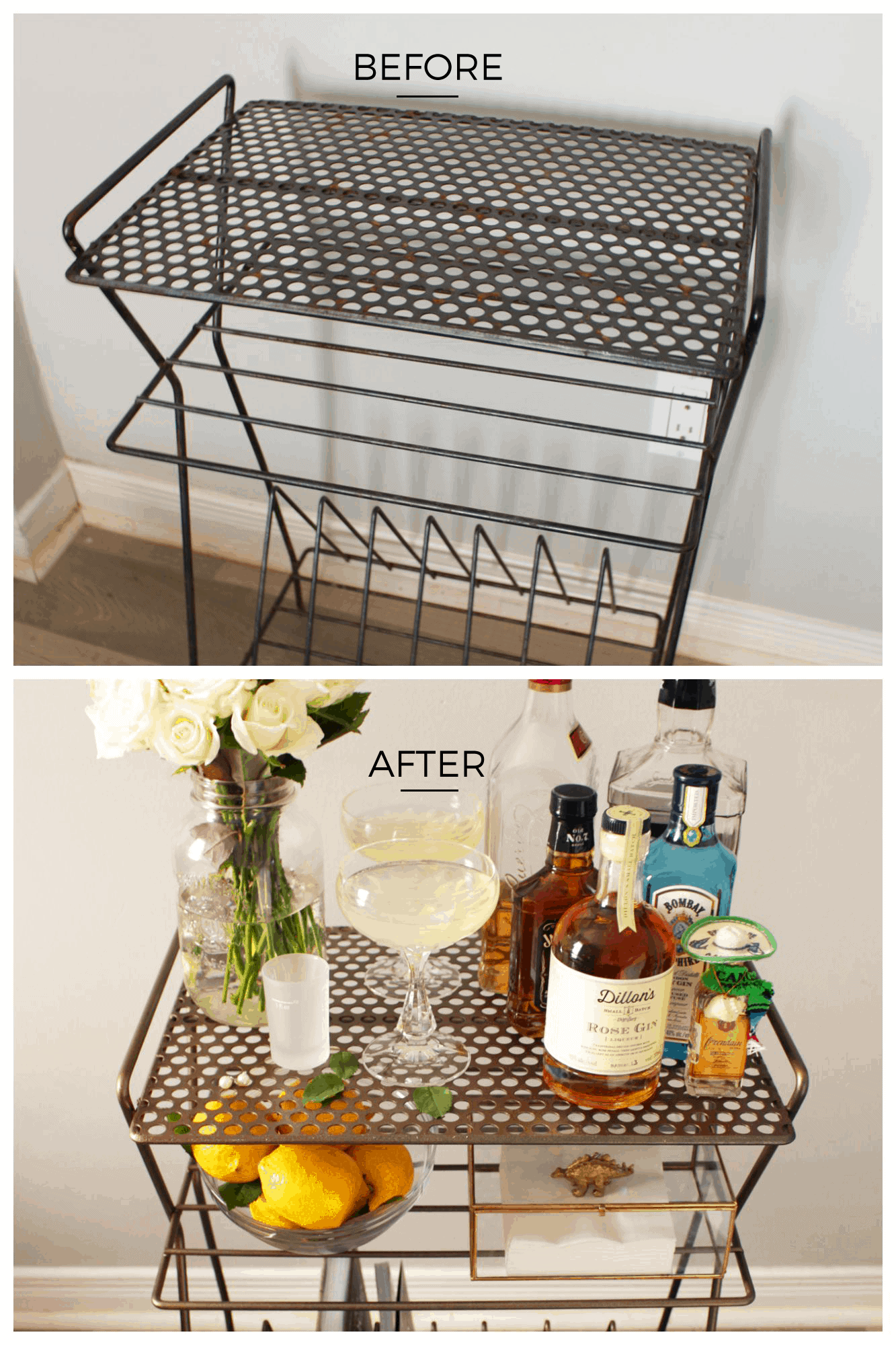 Before & After | Record Rack to Bar Cart | Fish & Bull