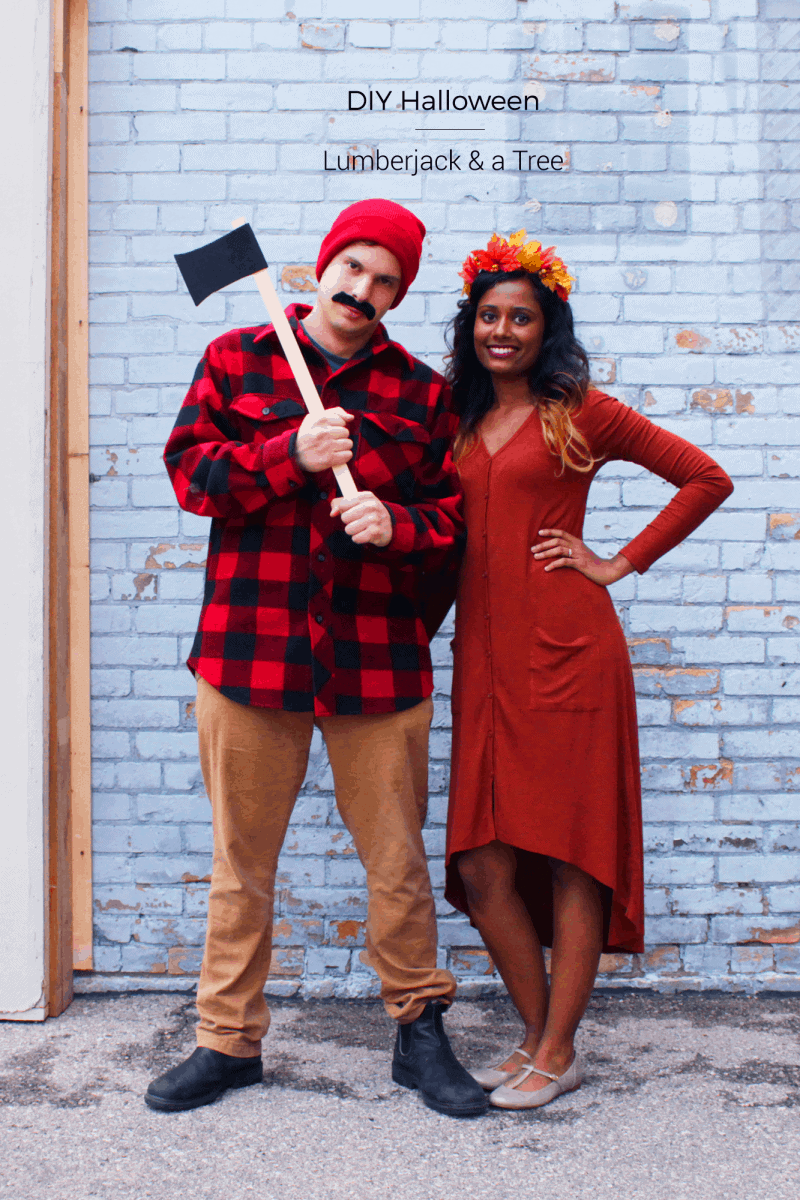 If you're looking for a last minute couples costume or want something comfy to move around in, this Lumberjack & Tree costume is for you!