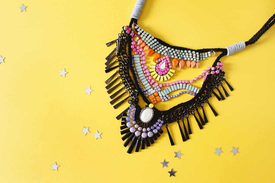 DIY Iris Apfel inspired Statement Necklace on Brit + Co | Fish & Bull