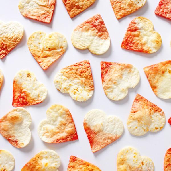 Valentine's Dip Dye Heart Tortilla Chips