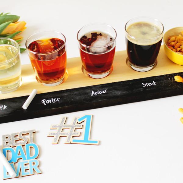 DIY Beer Tasting Flight Tray on Brit + Co