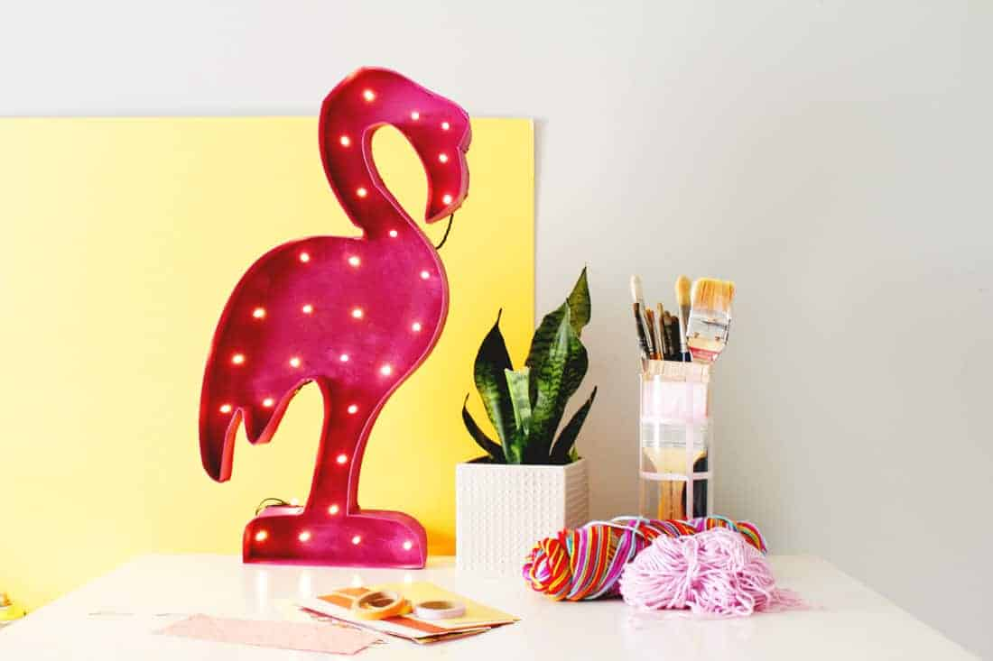 DIY Flamingo Marquee Light on Brit + Co