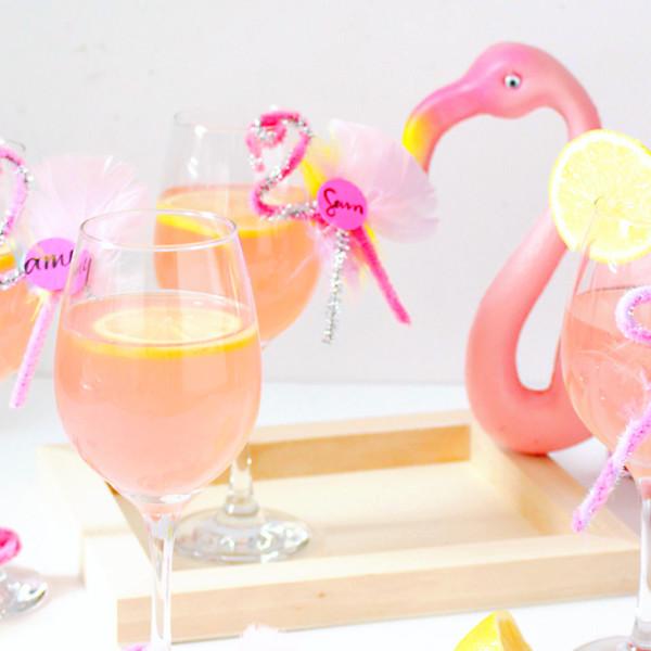 DIY Flamingo Drink Tags on Brit + Co