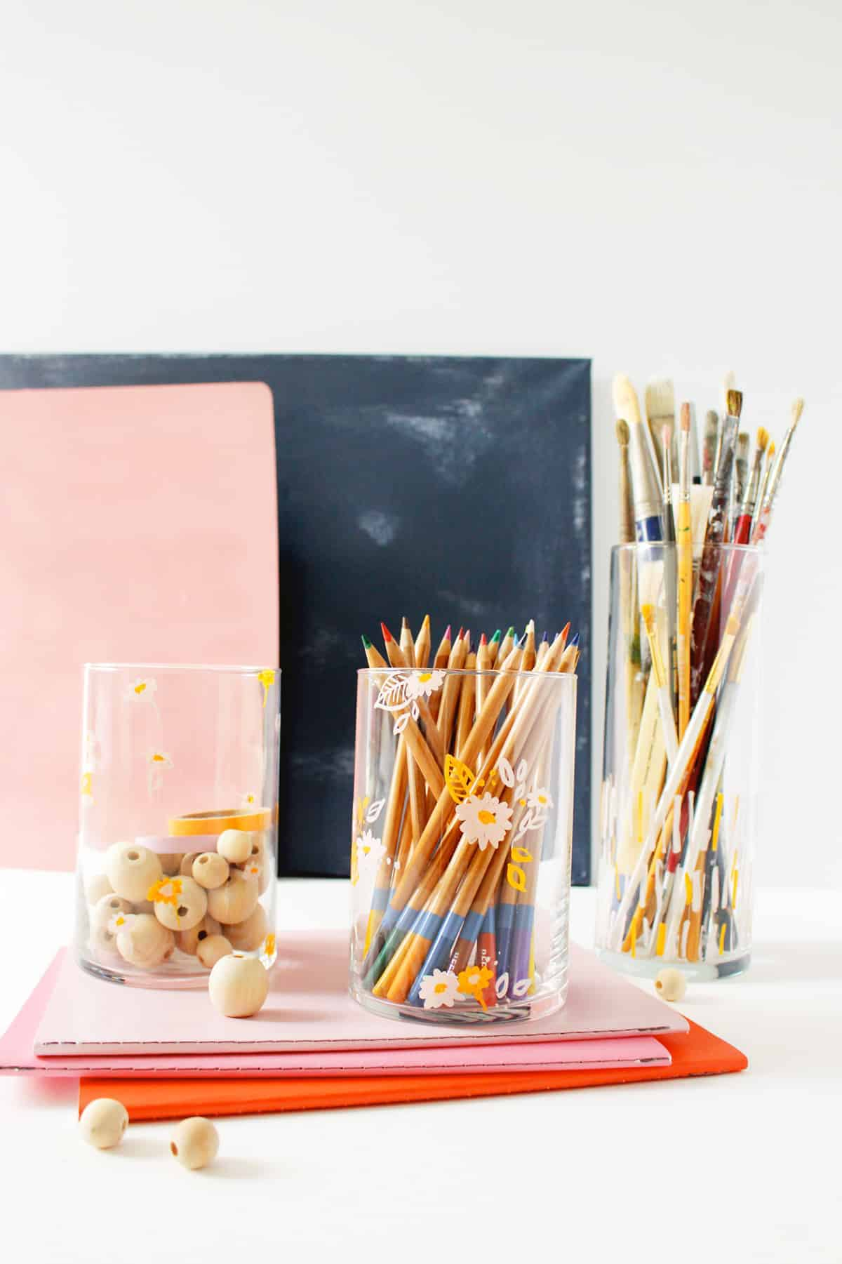 Create a DIY Floral Doodle Pencil Cup to keep your desk cute + clutter free | Fish & Bull
