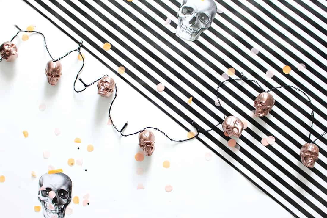 Diy Halloween String Lights : DIY Halloween Skull String Lights in Rose Gold Fish & Bull
