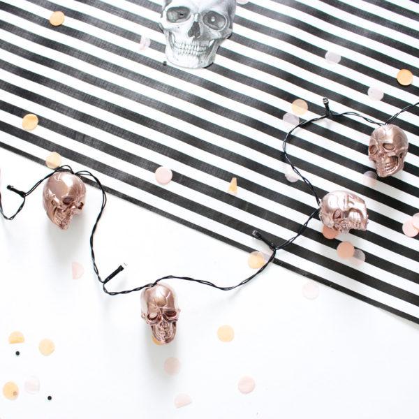 DIY Halloween Skull String Lights in Rose Gold