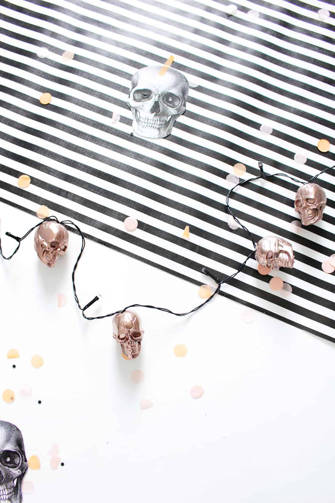 DIY Halloween Skull String Lights in Rose Gold