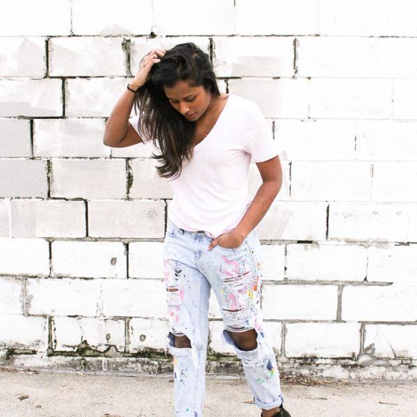 DIY Paint Splattered Boyfriend Jeans on Brit + Co