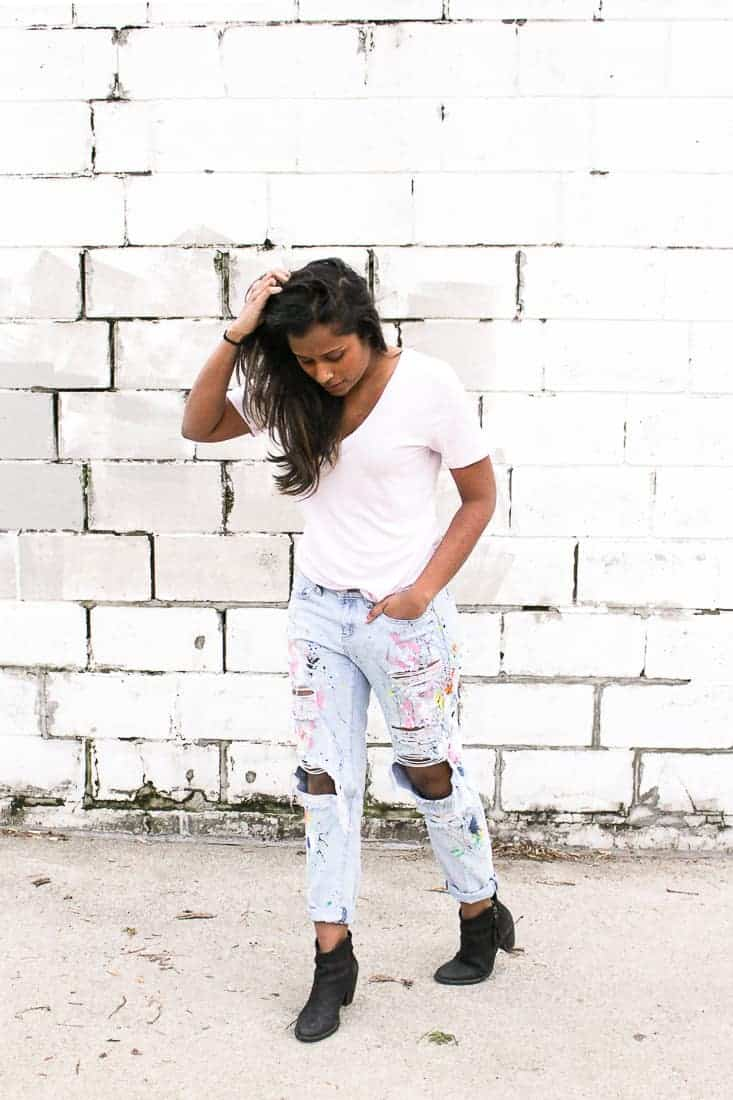 DIY Paint Splattered Boyfriend Jeans on Brit + Co