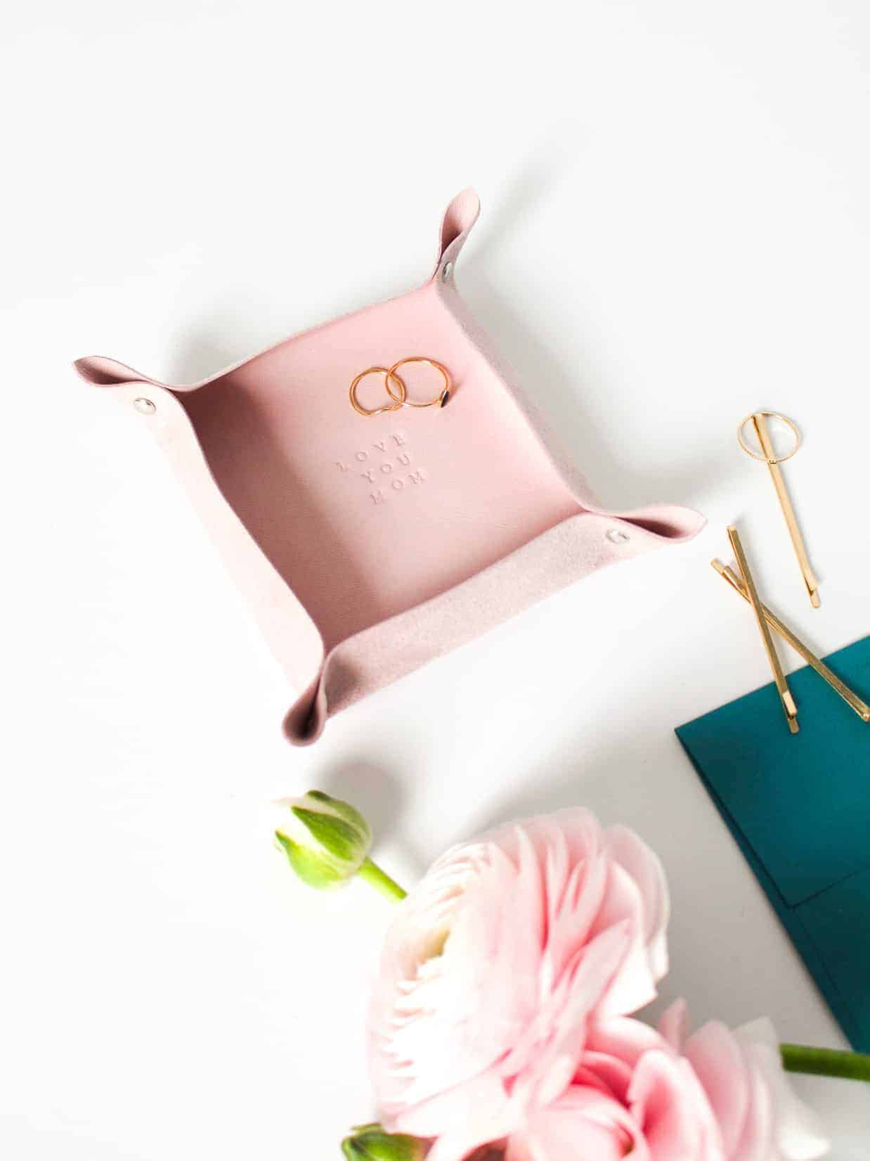 DIY Personalized Pink Leather Valet Tray on Martha Stewart