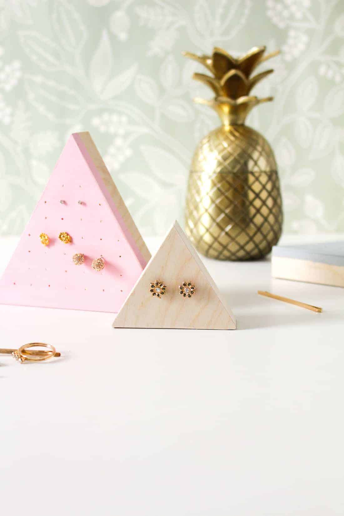 DIY Wooden Stud Earring Holder on Martha Stewart