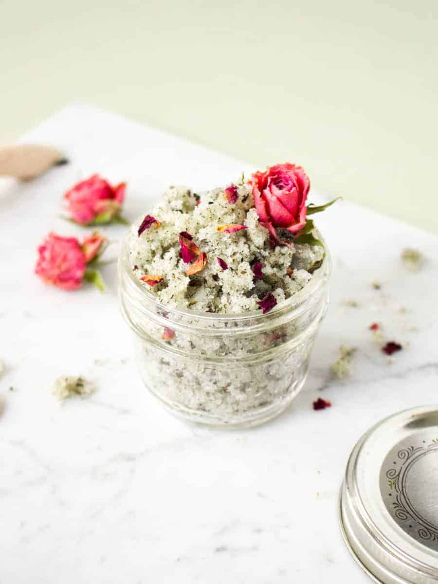 This green tea & rose body scrub DIY is made with fragrant essential oil and soothing green tea.